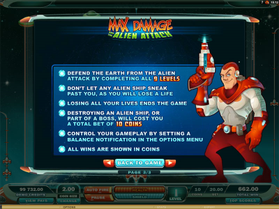 Max Damage and the Alien Attack Online Slot